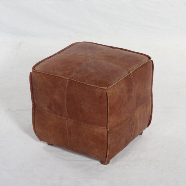Pouf Cubo Cuero Cocoa